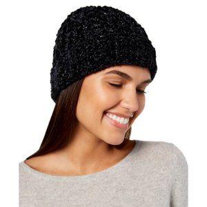 INC Chenille Metallic Shine Beanie Hat Black
